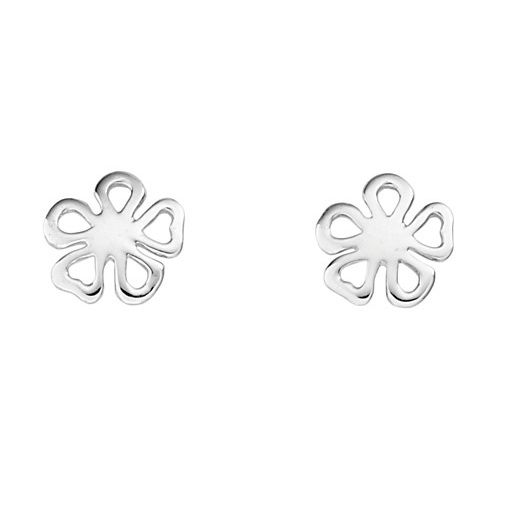 Cherubs Jewellery Silver Open Design Flower Stud Earrings