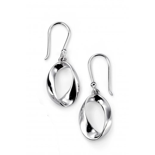Cherubs Jewellery Silver open twist drop earrings on french hooks