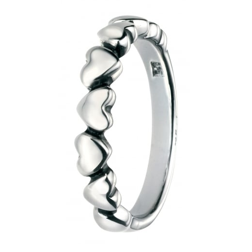 Cherubs Jewellery Silver Oxidised Multi Heart Ring