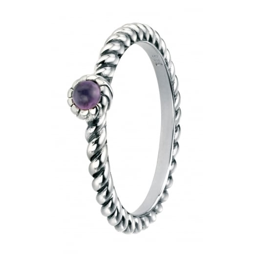 Cherubs Jewellery Silver Oxidised Twist Band Set with Amethyst