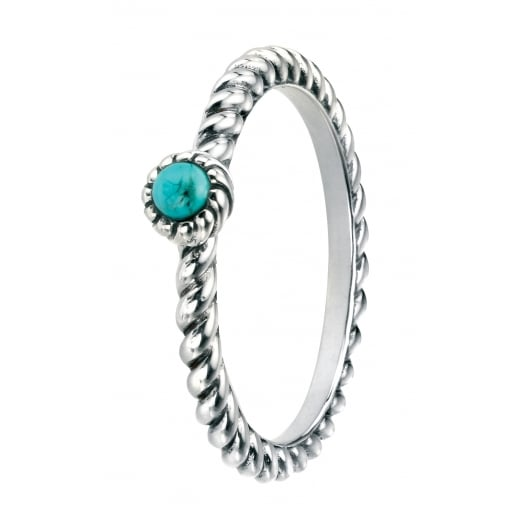 Cherubs Jewellery Silver Oxidised Twist Band Set with Turquoise