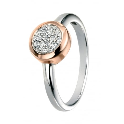 Cherubs Jewellery Silver Pave Cubic Zirconia Ring with Rose Gold Plate Surround
