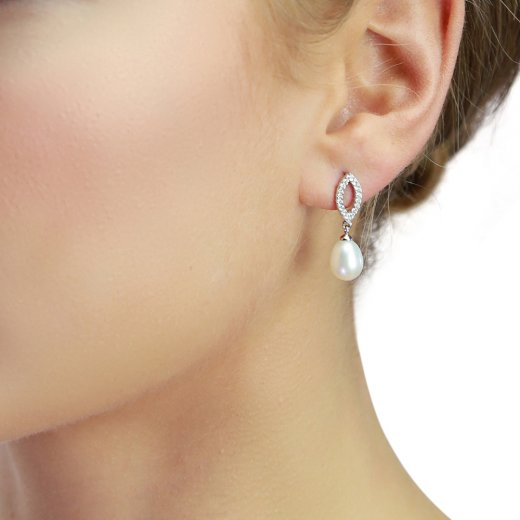 Silver Pave Set CZ Freshwater Pearl Earrings