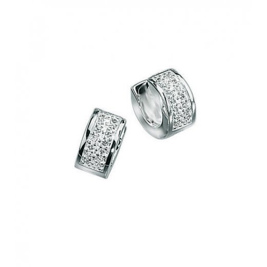 Cherubs Jewellery Silver Pave Set Mens CZ Hoop Earrings