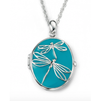 Silver Pendant with Blue Enamel and Silver Dragonflies and 41-46cm adjustable chain