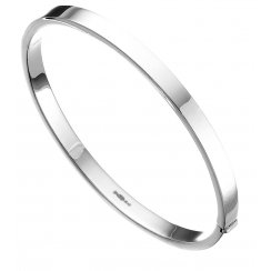 Silver Plain Square Cut 5mm Hinged Bangle