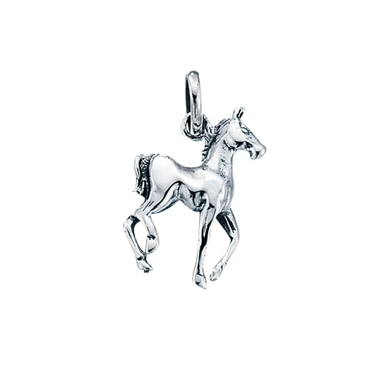 Cherubs Jewellery Silver Prancing Horse Pendant With Silver Curb Chain