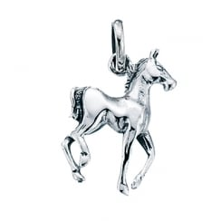 Silver Prancing Horse Pendant With Silver Curb Chain