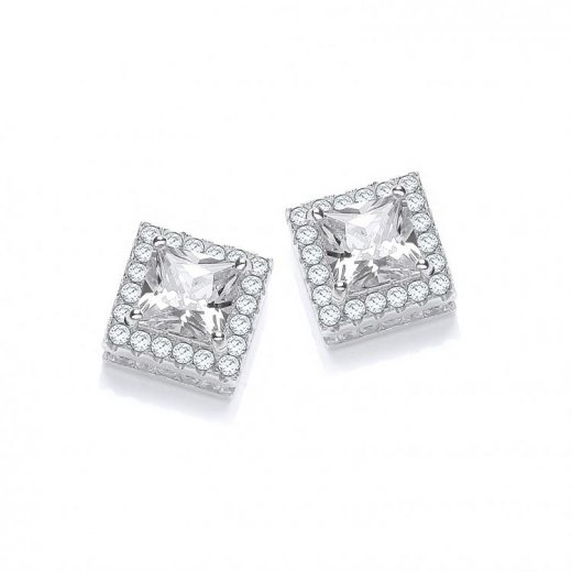 Cherubs Jewellery Silver Princess Cut CZ Micro Pave Square Earrings