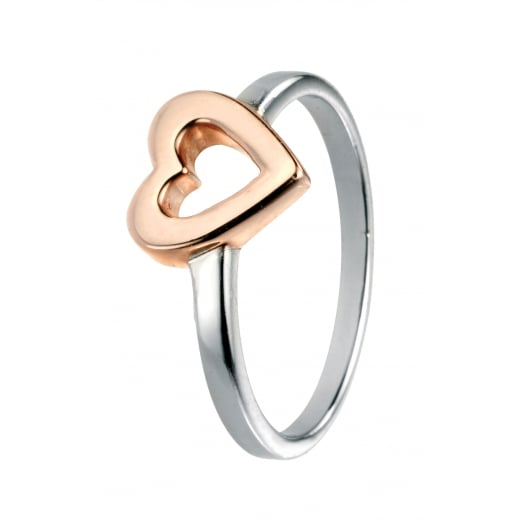 Cherubs Jewellery Silver Ring With Rose Gold Plated Open Heart