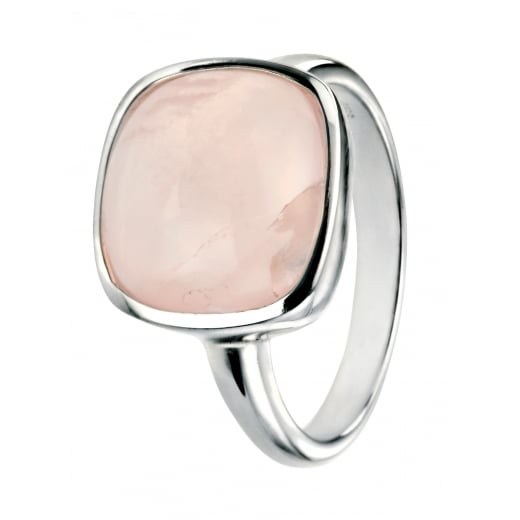 Cherubs Jewellery Silver Ring With Square Cabochon Rose Quartz