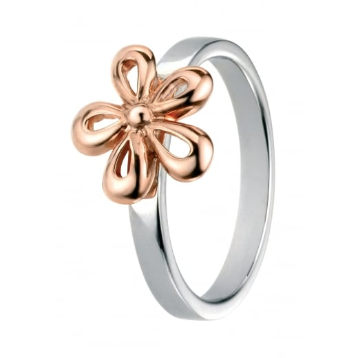 Cherubs Jewellery Silver Rose Gold Plate Flower Ring with Plain Band