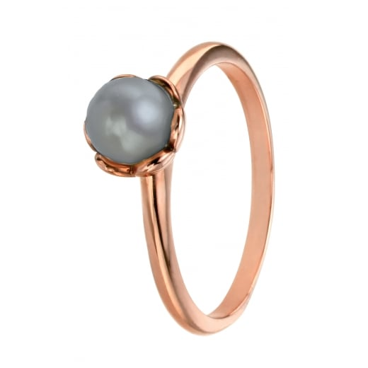 Cherubs Jewellery Silver Rose Gold Plate Grey Freshwater Pearl Ring With Flower Setting