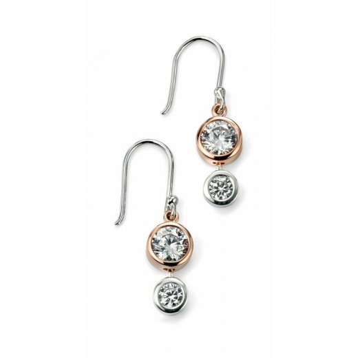 Cherubs Jewellery Silver Rose Gold Plated Double CZ Drop Earrings