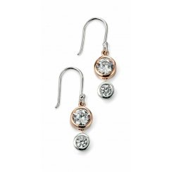 Silver Rose Gold Plated Double CZ Drop Earrings
