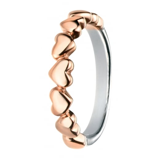 Cherubs Jewellery Silver Rose Gold Plated Multi Heart Ring