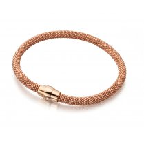 Silver Rose Gold Plated Popcorn Bracelet With Magnetic Clasp