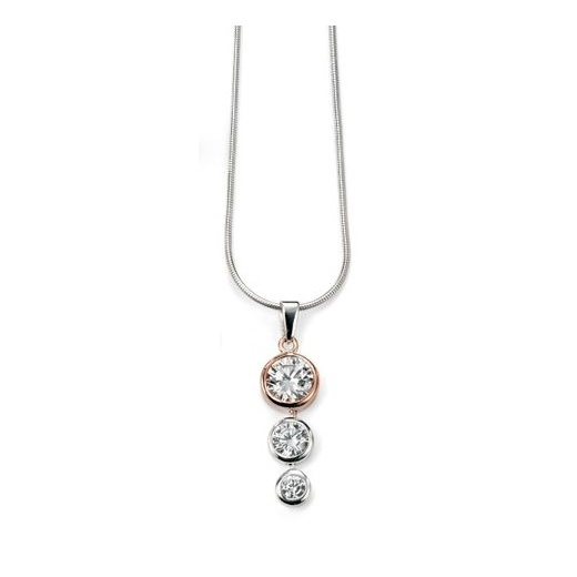 Cherubs Jewellery Silver Rose Gold Plated Three Stone CZ Pendant With Adjustable Chain