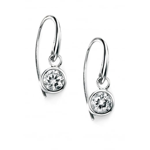 Cherubs Jewellery Silver Round Clear CZ Hook Earrings