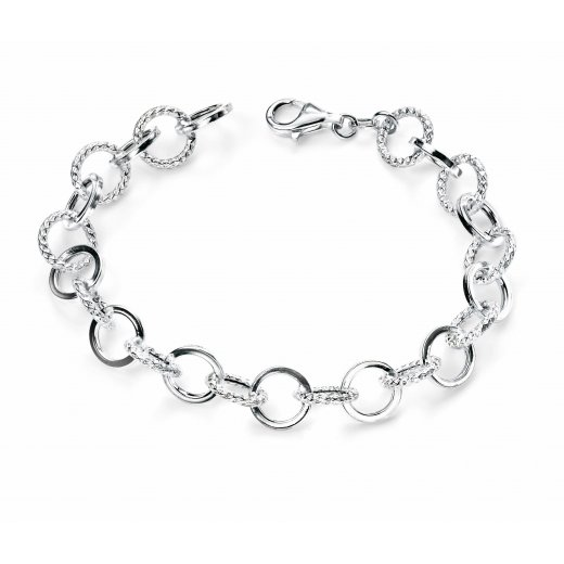 Cherubs Jewellery Silver Round Link Bracelet For Women 19cm