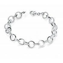 Silver Round Link Bracelet For Women 19cm