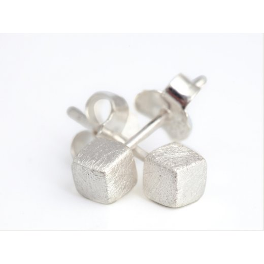 Cherubs Jewellery Silver Rustic Scratched Finish Cube Earrings