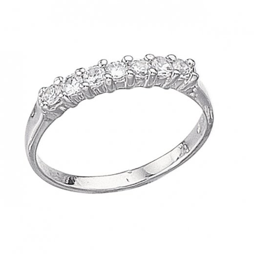 Cherubs Jewellery Silver Seven Stone Claw Set CZ Eternity Ring
