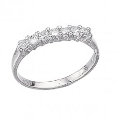 Silver Seven Stone Claw Set CZ Eternity Ring