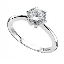 Silver Six Claw Cubic Zirconia Solitaire