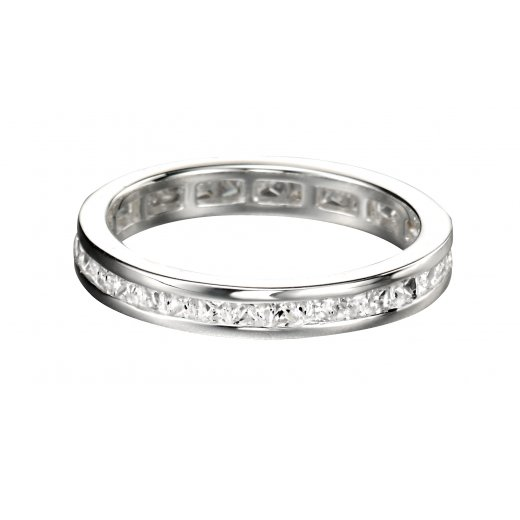 Cherubs Jewellery Silver Square CZ Channel Set Eternity Ring 3.5mm