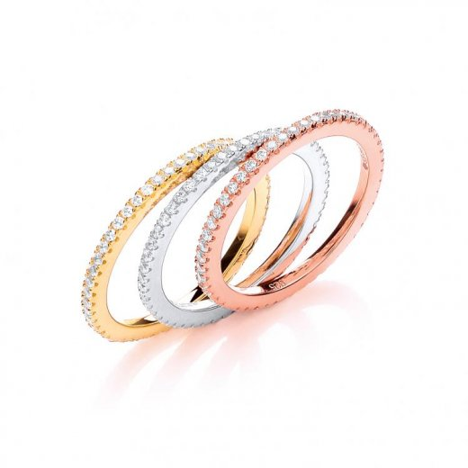 Cherubs Jewellery Silver Stacking Rings With Precious Metal Plating Set & CZ Stones All Round