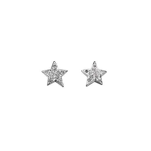 Cherubs Jewellery Silver Star Earrings Set With CZ Stones