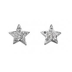Silver Star Earrings Set With CZ Stones