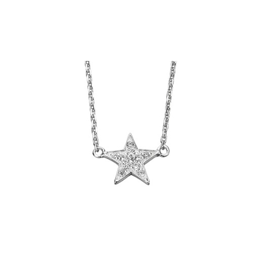 Cherubs Jewellery Silver Star Pendant Cubic Zirconia Set With Adjustable Chain