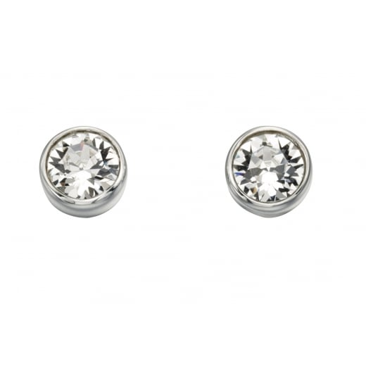 Cherubs Jewellery Silver Swarovski Crystal Elements Round Stud Earrings