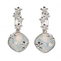 Silver SWAROVSKI white opal crystal drop earrings