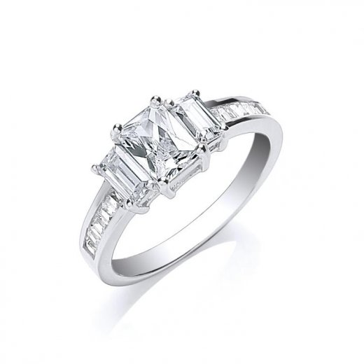 Cherubs Jewellery Silver Three Stone CZ Ring With Baguettes Channel Set On The Shoulders