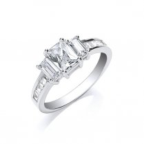 Silver Three Stone CZ Ring With Baguettes Channel Set On The Shoulders