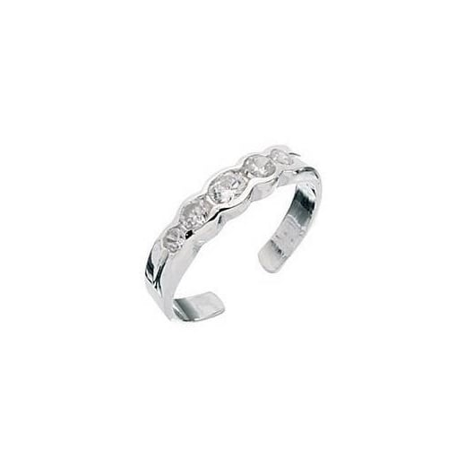 Cherubs Jewellery Silver toe ring set with cubic zirconia
