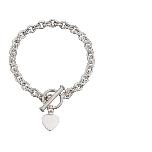Cherubs Jewellery Silver Toggle Bracelet With Silver Heart Charm