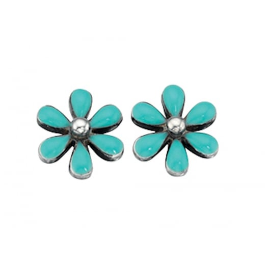 Cherubs Jewellery Silver Turquoise Flower Stud Earrings