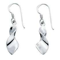 Silver Twist Earrings With French Hooks