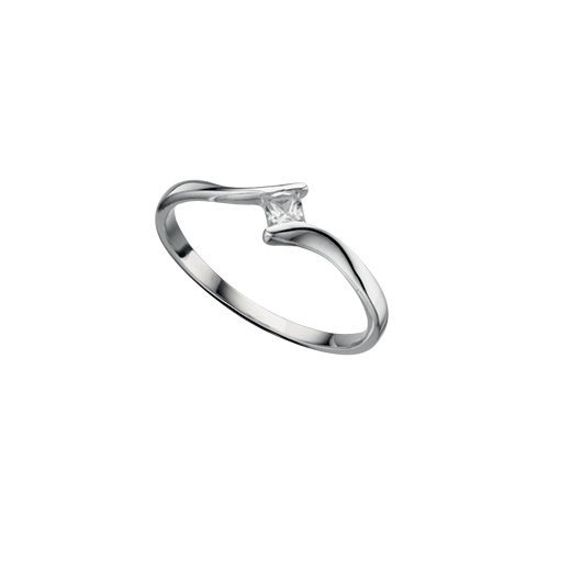 Cherubs Jewellery Silver Twist Ring With A Princess Cut Cubic Zirconia
