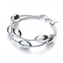 Silver Two Row Oval Bead Bracelet