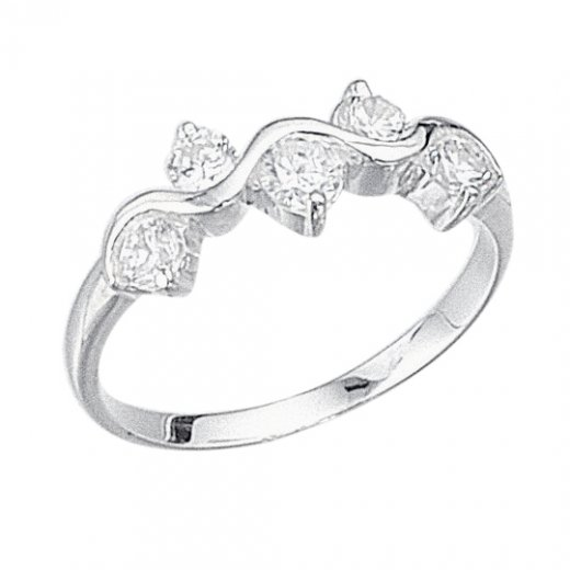 Cherubs Jewellery Silver Wave Ring With Cubic Zirconia