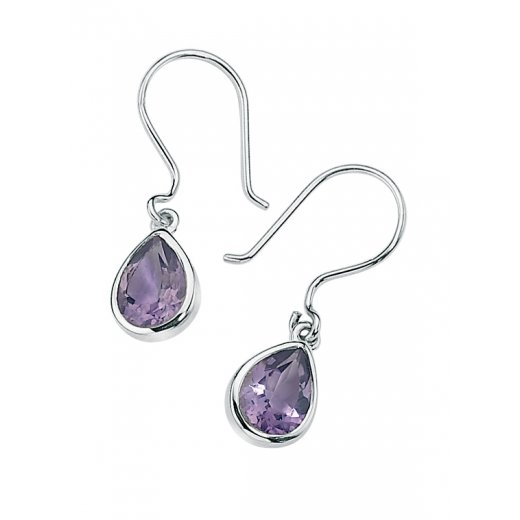 Cherubs Jewellery Silver With Pear Shaped Amethyst Erin Earrings