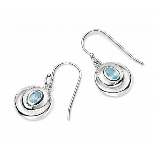 Cherubs Jewellery Silver wrap around double loop earrings set with a sky blue topaz