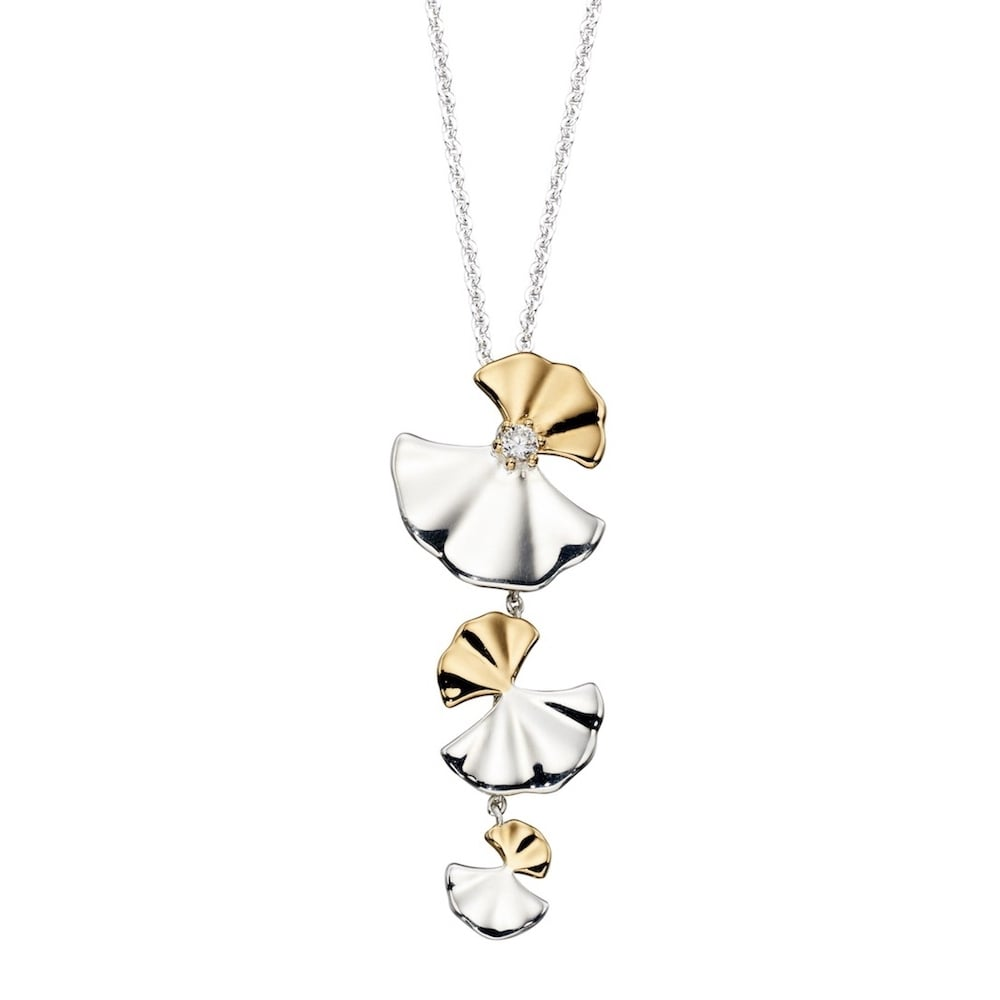 Silver Amp Yellow Gold Plated Ginkgo Leaf Pendant