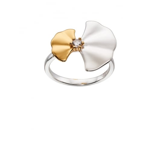 Cherubs Jewellery Silver & Yellow Gold Plated Ginko Leaf Ring