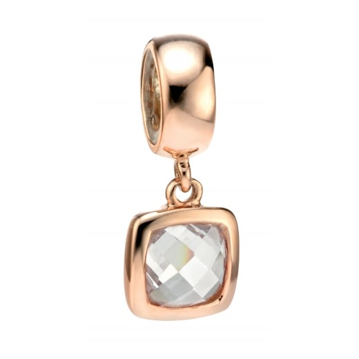 Cherubs Jewellery Spacer Charm Bead With CZ Rose Gold Plated